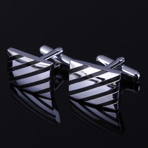 Fine Black Diagonal Stripes Cufflinks