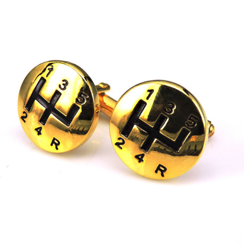 Cufflinks gear shift lever gold - 1