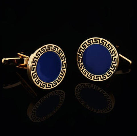 Blue Round Greek Ornament Cufflinks - 1