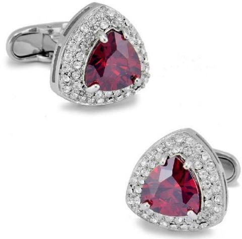 Ruby Triangle Crystal Cufflinks - 1
