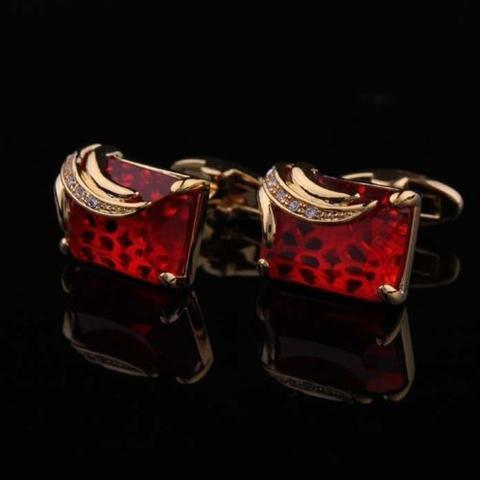 Faceted Ruby Crystal Gold Metal Cufflinks - 1