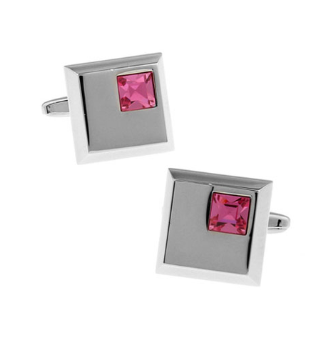 Stylish Violet Crystal Cufflinks - 1