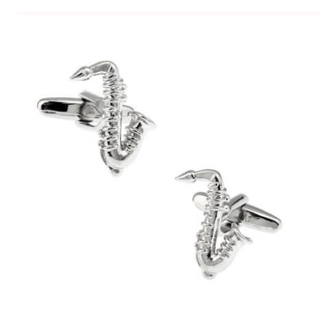 Silver Metal Saxophone Cufflinks - 1