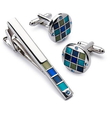 Cufflinks with blue-mosaic tie clip - 1