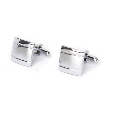 Stylish Two Lines Silver Metal Cufflinks