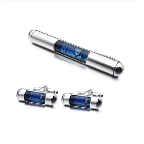 Cufflinks with tie clip spirit level - 1