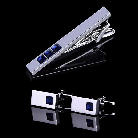 Cufflinks with tie blue crystal tie