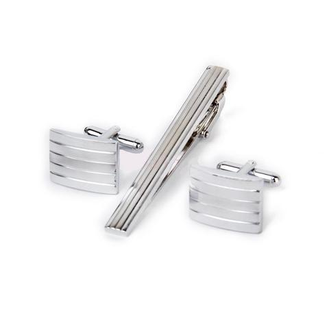 Illinois - Glossy Cufflinks and Tie Clip Set