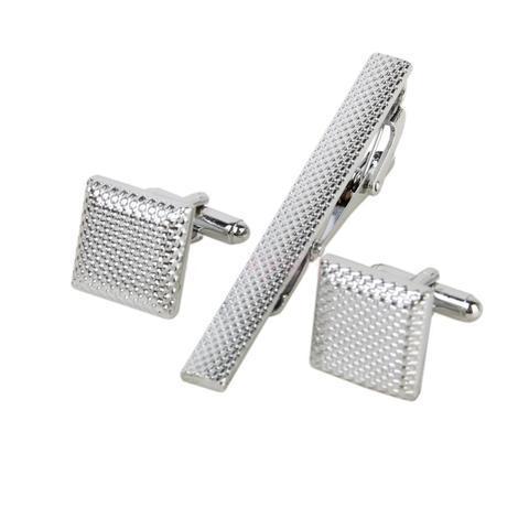 Colorado - Oval Crystals Cufflinks and Tie Clip Set - 1