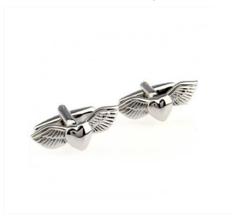 Heart with Wings Gun Metal Cufflinks