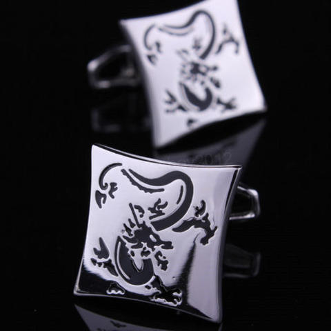 Silver Chinese Dragon Cufflinks - 1