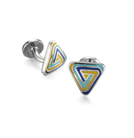 Cufflinks triangular triangle