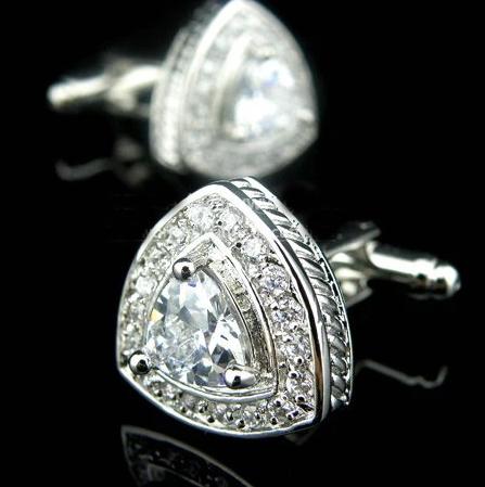 Cufflinks white stones triangles