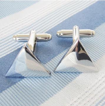 Elegant silver triangle cufflinks