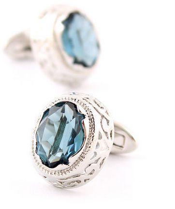 Light Blue Crystal Circular Ornament Cufflinks - 1
