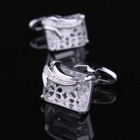 Big Clear Crystal Cufflinks - 1