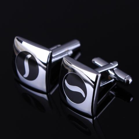 Black Wave Square Cufflinks