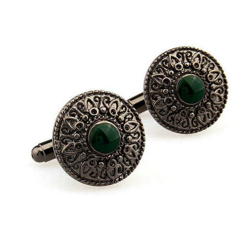 Vintage Green Eye Cufflinks - 1