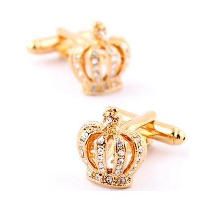 Luxury Royal Crown Blue Crystal Cufflinks - 1