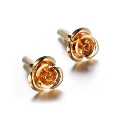Rose Bloom Gold Metal Cufflinks - 1