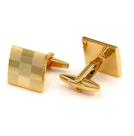 Gold Metal Chessboard Cufflinks - 1