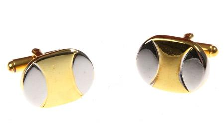 Elegant Oval Gold Metal Cufflinks