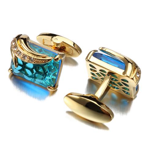 Turquoise Crystal Elephant Cufflinks - 1