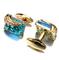 Turquoise Crystal Elephant Cufflinks - 1/4