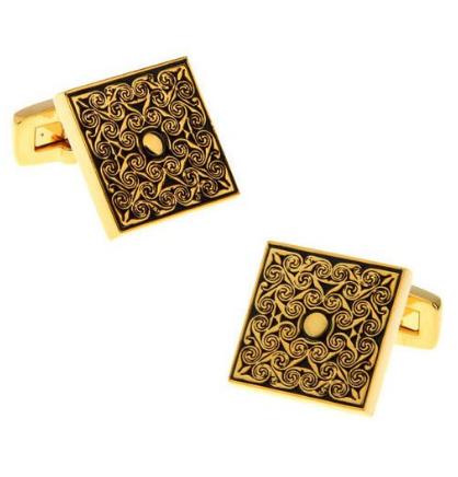 Luxury Golden Metal Ornament Cufflinks - 1