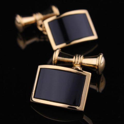 Vintage Gold Metal Obsidian Cufflinks - 1