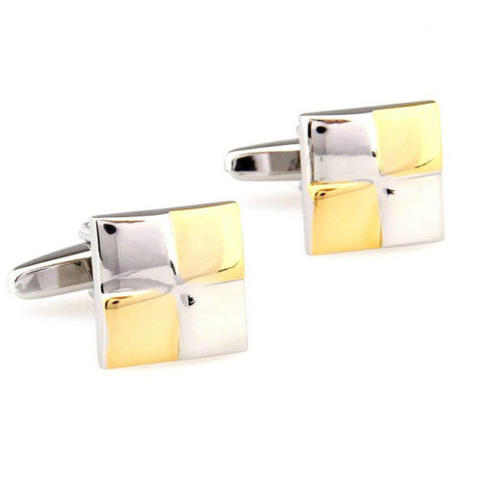 Gold White Squares Cufflinks