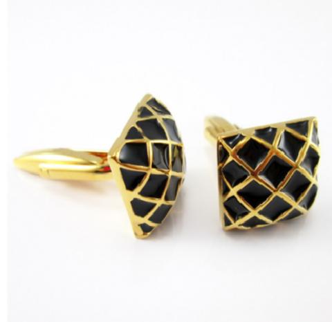 Gold grid cufflinks - 2
