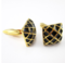 Gold grid cufflinks - 2/2