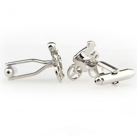 Silver Metal Racing Bike Cufflinks - 2