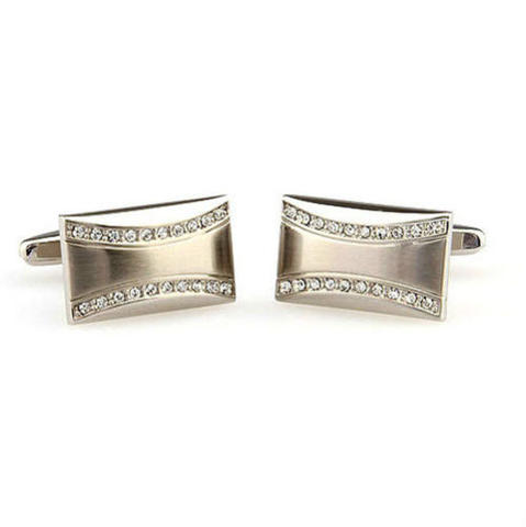 Small Swarowski Wave Cufflinks - 2