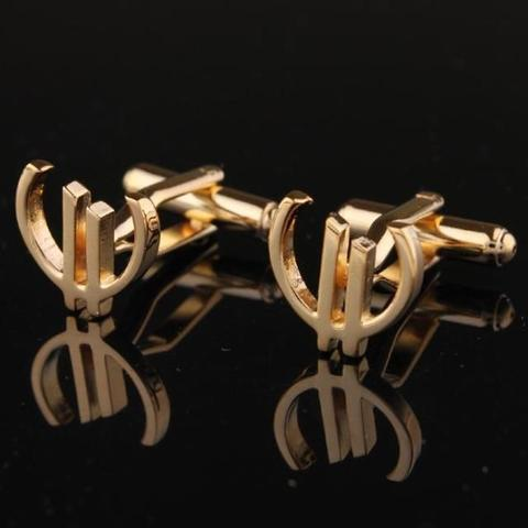 Euro Sign Gold Metal Cufflinks - 2