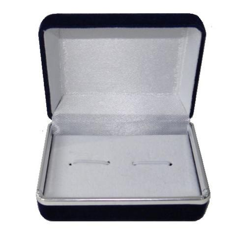 Dark Blue Suede Cufflink Box - 2