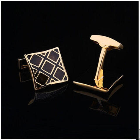 Luxury Black Gold Metal Grid Cufflinks - 2