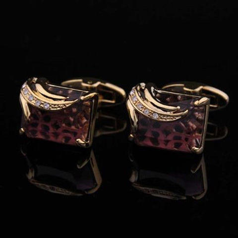 Faceted Dark Violet Crystal Cufflinks - 2