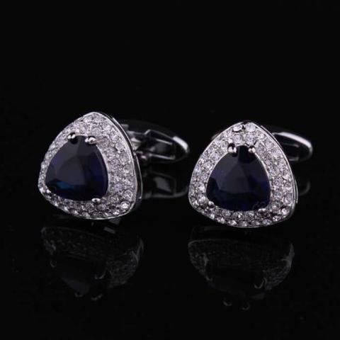 Navy Blue Triangle Crystal Cufflinks - 2