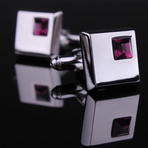 Stylish Purple Crystal Cufflinks - 2