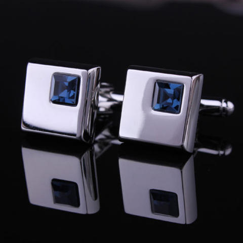 Stylish Blue Crystal Cufflinks - 2