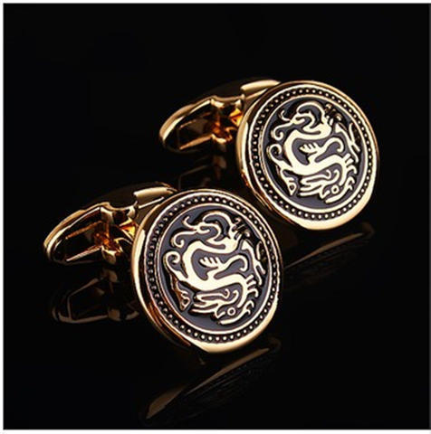 Vintage Chinese Dragon Round Cufflinks - 2