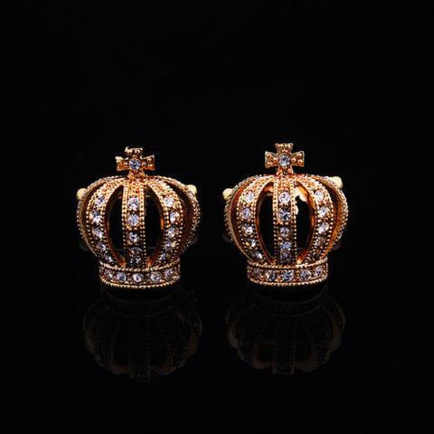 Luxury Royal Crown Blue Crystal Cufflinks - 2