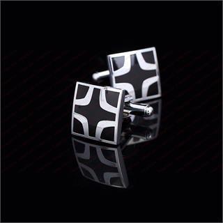 Black Cross Square Cufflinks - 2