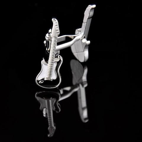Black Stratocaster Guitar Cufflinks + Eccentric Guitar Pendant - 2