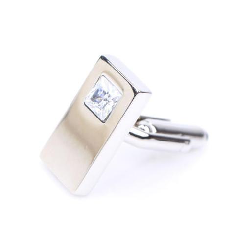 Big White Crystal Thin Cufflinks - 2