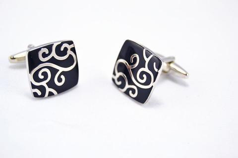 Silver Metal Ornament Design Cufflinks - 2