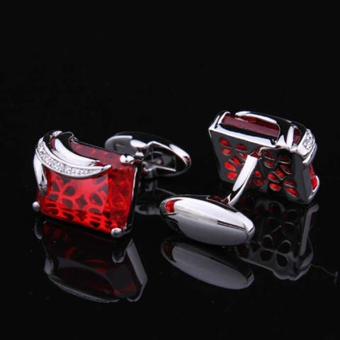 Faceted Ruby Crystal Cufflinks - 2
