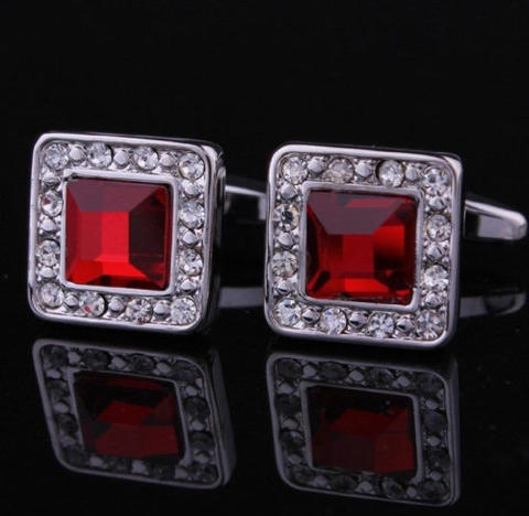 Ruby Crystal Circular Cufflinks - 2
